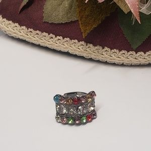 Unique Multi Colored Crystal Statement Ring